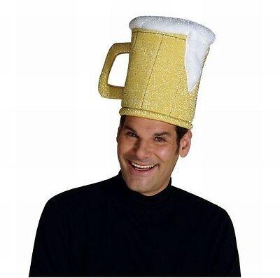 Beer Mug Hat Halloween Costume Cap Accessory Yellow Lager Bar Brew Mens Adult  - Beer Mug Costumes