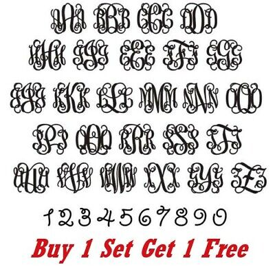 ~*~ (2 SETS) 3 VINE MONOGRAM Initials Vinyl Decals Stickers custom YETI (Initial Stickers)