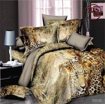 3D Animal printed Effect 4Pcs Bedding Set Duvet Cover Pillowcase Sheet Queen #3