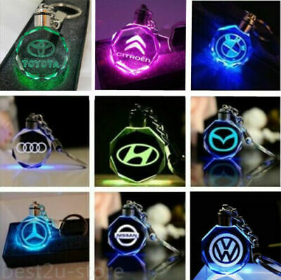 Car Logo Keychain Crystal Light keyring Color LED Light + Gift Box UK 2020 NEW Led Lighted Logo Keychain