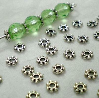 1000x Tibetan Silver Daisy Flower Shaped Spacer Beads Jewelry Making DIY 4mm 6mm - Flower Shapes