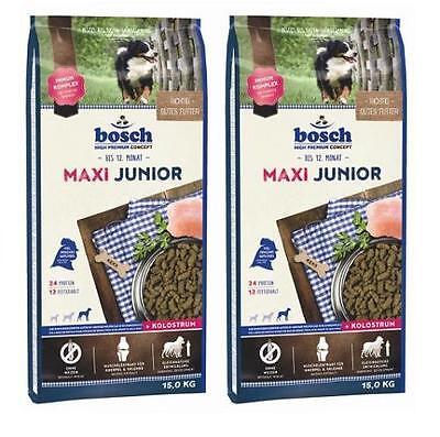 2 x 15 kg Bosch Maxi Junior Hundefutter für Welpen großer Rassen + 6 Rinderohren