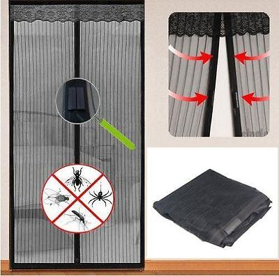 Vinsani Black Magnetic Flying Insect Door Curtain Bug Mesh Fly Screen