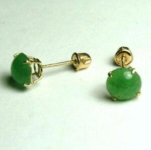 14k Green Jade Earrings