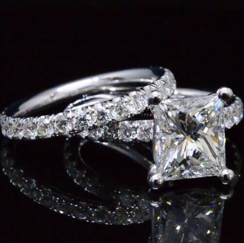 2.60 Ct Gorgeous Princess Cut Diamond Engagement Bridal Set H, VS1 GIA Certified