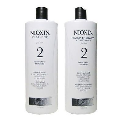 NIOXIN SYSTEM 2 CLEANSER & SCALP THERAPY/SHAMPOO & CONDITIONER 33.8OZ/1 LITER EA