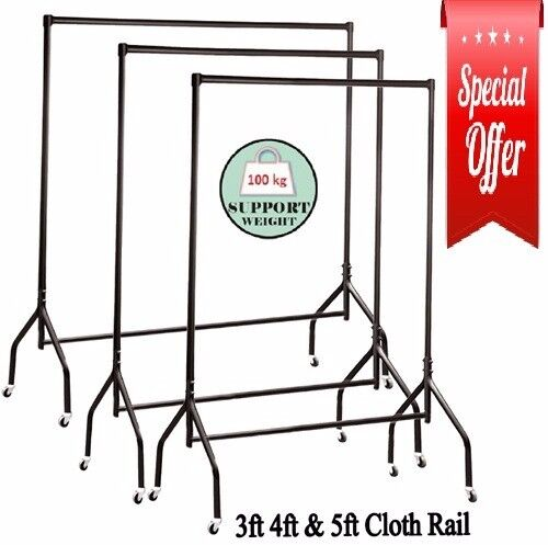Superior Quality Black 3ft, 4ft and 5ft Wide Heavy-Duty Metal Clothes Rail Garment
