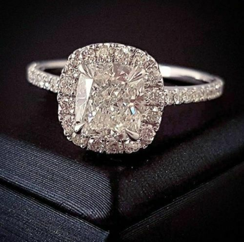 2.28Ct Cushion Cut Halo Diamond Engagement Ring Wedding Band E VS1 GIA Certified 2