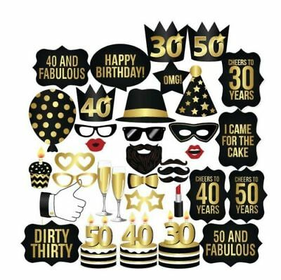 New 26PCS DIY 30th 40th 50th Birthday Party Masks Favor Photo Booth Props