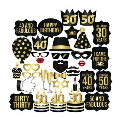 NEW! 26PCS DIY 30th 40th 50th Birthday Party Masks Favor Photo Booth Props - 30th Birthday Favors