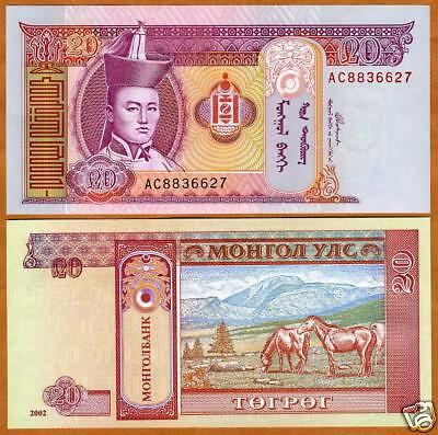 Mongolia, 20 Tugrik, 2002, P-63, UNC