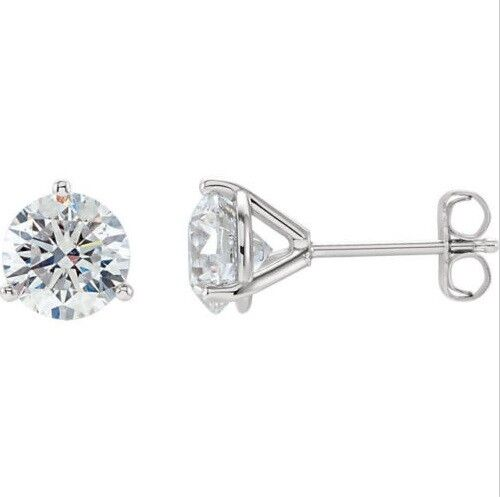 2.00 Ct  Men's or Women's Stud 3-Prong Round Cut Diamond Earrings I, SI1 GIA