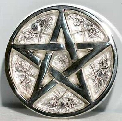 "3"" Silver Plated Pentacle Incense Cone Sage Smudge BURNER Pentagram FREE SHIP"