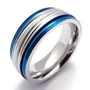 Stainless Steel Mens Blue Ring'