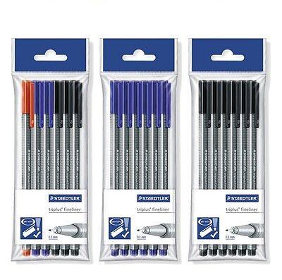 Staedtler Triplus Fineliner Pens - Pack Of 6 Pens - Blackblueassorted New