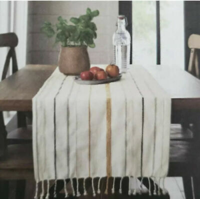 "New Hearth & Hand Oversized Linen and Cotton Striped Table Runner 20""X90"""
