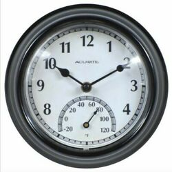 AcuRite Outdoor/Indoor Black Clock Weather Resistant Quartz Crystal -20°F to 120