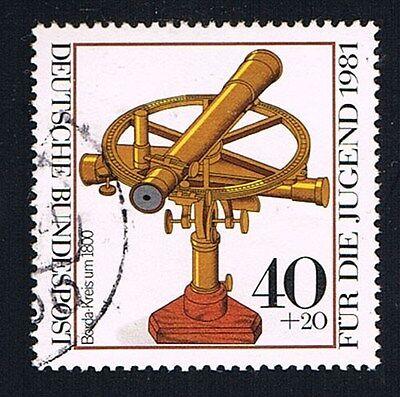 GERMANIA 1 FRANCOBOLLO PRO GIOVENTU STRUMENTI OTTICI CERCHIO 1981 usato