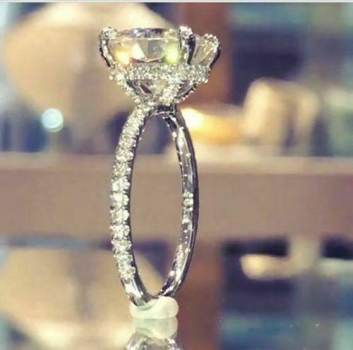 3.20 Ct Near White Moissanite Rings Halo Engagement Wedding