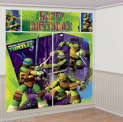 Ninja Turtles Birthday Party Supplies (TEENAGE MUTANT NINJA TURTLES WALL DECORATING KIT (5pc) ~ Birthday Party)