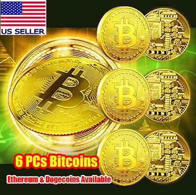 6 Pcs Gold Bitcoin Coins Crypto Commemorative Collectors Gold Plated Bitcoins