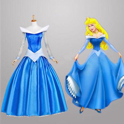 Ladis Sleeping Beauty Princess Aurora Gorgeous Dress Fancy Costume Pink & - Aurora Blue Dress Kostüm