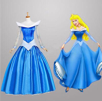 Damen Dornröschen Prinzessin Aurora Wunderschön Kleid Kostüm Rosa & (Aurora Blau Kleid)
