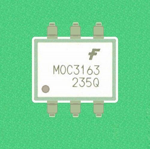Lot (100) Fairchild MOC3163 triac optocoupler 6 pin SMT DIP 5 ma for 110/220 vac