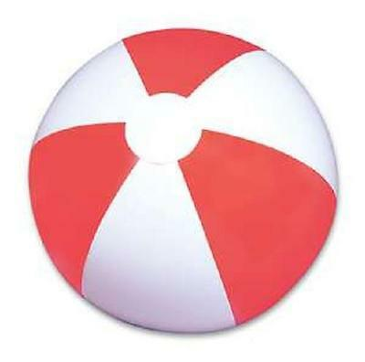 "(48) RED AND WHITE BEACH BALLS  16"" Pool Party Beachball NEW! #AA9 Free Shipping"