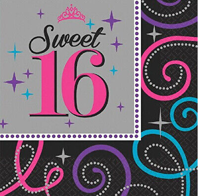 SWEET 16 beverage PAPER NAPKINS 16th birthday party supplies sixteen 8pcs 2-ply