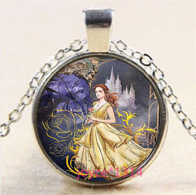 Beauty and Beast Cabochon Tibetan silver Glass Chain Pendant Necklace #3761