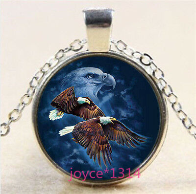 Vintage Bald eagle Cabochon Tibetan silver Glass Chain Pendant Necklace #6295