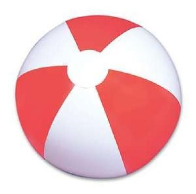 "(96) RED AND WHITE BEACH BALLS  12"" Pool Party Beachball NEW #AA2 Free Shipping"