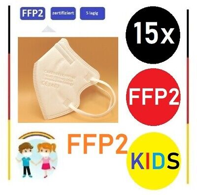 15x Stück - FFP2 Kinder Masken Atemschutz CE zertifiziert, einzeln verpackt Weiß