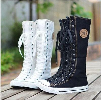 EMO Gothic PUNK Women Rock Boot Girls Shoes Sneaker Knee High Zip Laces Up - Emo Girls