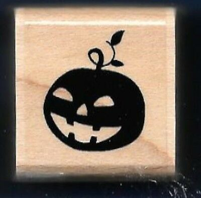 Halloween Pumpkin Face Designs (PUMPKIN SCARY FACE small Halloween Tag Card NEW JRL Design Co wood RUBBER)