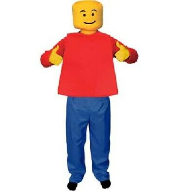 Kids Yellow Morphsuit (Kids Childs Fancy Dress Mr BlockHead fancy dress Toy Costume Outfit M 8-10)