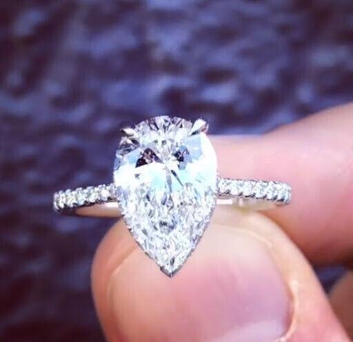 1.60 Ct Pear Brilliant Cut Diamond Hidden Halo Engagement Ring I,VS1 GIA 14K WG  4