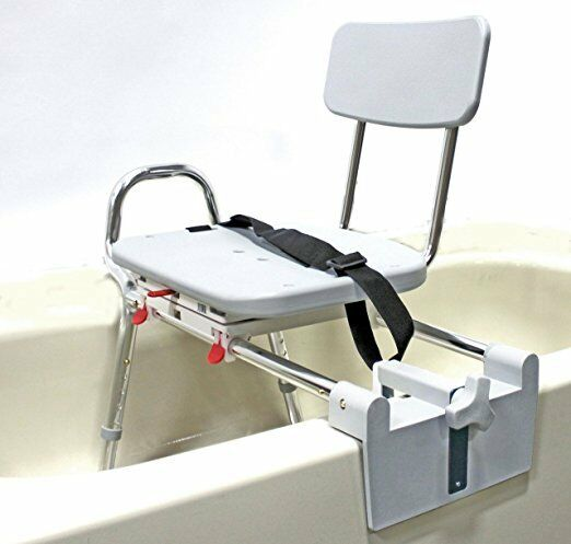 Sliding Shower Chair Tub-mount Bath Transfer Bench With S...
