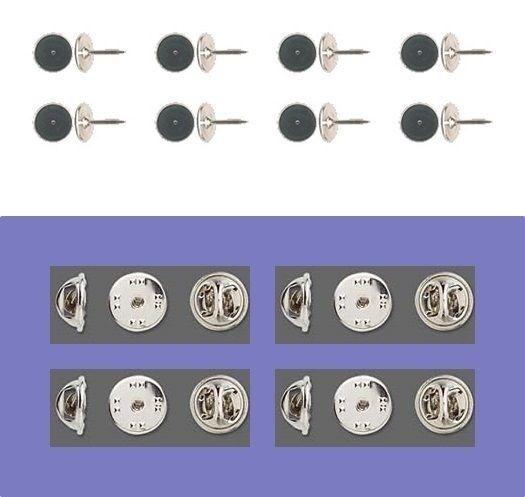 12 Brass Tac TIE TACKS Lapel Scatter Pin  10mm pad + 9mm post + Backs No Nickel