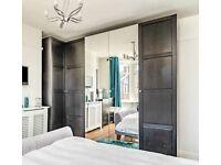 Ikea PAX black brown corner wardrobe and triple wardrobe with hermer doors