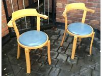 2 x Wooden Chairs with Curve Backs