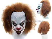 Clown Mask Hair Red Nose Cosplay Latex Face Horror Adult Halloween