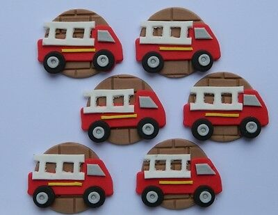 Fire Truck Cupcakes (12 edible FIRE TRUCK CUPCAKE cake topper DECORATION fireman VEHICLE)