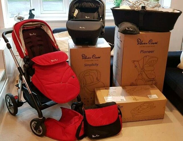 Silver Cross Pioneer Travel System Red Purple Black Boxed Infant Car Seat Isofix Base Pramcot