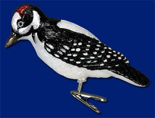 HAIRY WOODPECKER OLD WORLD CHRISTMAS GLASS CLIP ON BIRD ORNAMENT NWT 18039