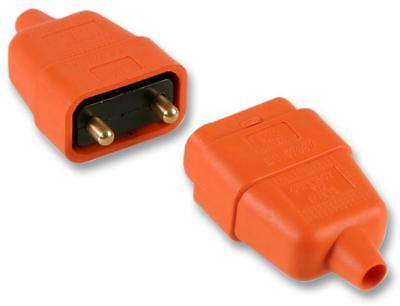 ELECTRICAL DIY IN-LINE 10A 250V MAINS PLUG CABLE EXTENDER CONNECTOR Orange 2 PIN