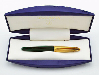 Waterman Edson Emerald Green & Gold Fountain Pen 18 Kt Gold Medium Pt New In Box