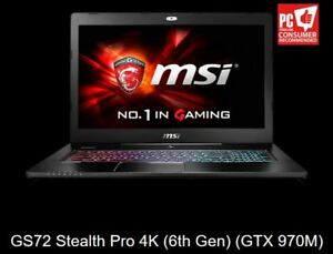 """MSI GS72 (STEALTH PRO 17.3"""" 4K) GAMING NOTEBOOK"""