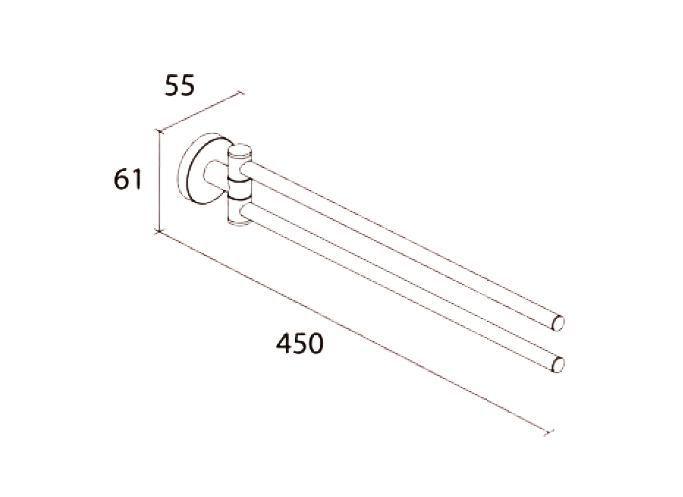DIETSCHE Handtuchhalter OSLO 45 cm 2-armig schwenkbar chrom